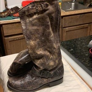 NWOT Frye Logo Distressed Leather Brown Tall Boots